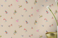 401158 cikkszámú tapéta.állatok,textilmintás,bézs-drapp,kék,pink-rózsaszín,piros-bordó,sárga,szürke,zöld,súrolható,vlies tapéta
