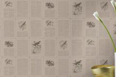 401622 cikkszámú tapéta.állatok,feliratos-számos,textilmintás,barna,szürke,súrolható,vlies tapéta