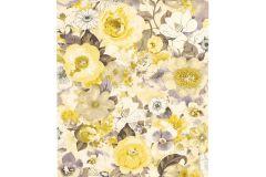 803532 cikkszámú tapéta.Absztrakt,különleges motívumos,rajzolt,retro,természeti mintás,virágmintás,fehér,sárga,szürke,lemosható,vlies tapéta