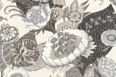 803617 cikkszámú tapéta.Absztrakt,különleges motívumos,rajzolt,retro,természeti mintás,virágmintás,fehér,fekete,kék,szürke,vajszín,lemosható,vlies tapéta