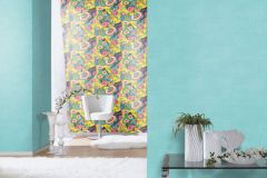 803624 cikkszámú tapéta.Absztrakt,különleges motívumos,rajzolt,retro,természeti mintás,virágmintás,fekete,kék,lila,narancs-terrakotta,pink-rózsaszín,piros-bordó,sárga,szürke,zöld,lemosható,vlies tapéta