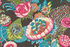 803631 cikkszámú tapéta.Absztrakt,különleges motívumos,rajzolt,retro,természeti mintás,virágmintás,fehér,kék,narancs-terrakotta,pink-rózsaszín,piros-bordó,szürke,zöld,lemosható,vlies tapéta