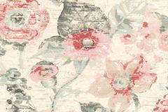 803723 cikkszámú tapéta.Absztrakt,különleges motívumos,rajzolt,retro,természeti mintás,virágmintás,pink-rózsaszín,piros-bordó,szürke,vajszín,zöld,lemosható,vlies tapéta