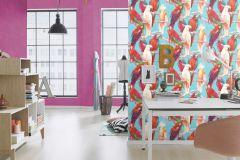 803112 cikkszámú tapéta.állatok,különleges motívumos,rajzolt,fehér,kék,lila,narancs-terrakotta,pink-rózsaszín,piros-bordó,türkiz,vajszín,zöld,lemosható,vlies tapéta