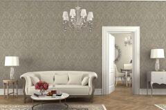 936070 cikkszámú tapéta.Barokk-klasszikus,különleges felületű,különleges motívumos,virágmintás,szürke,lemosható,vlies tapéta