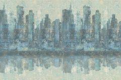 936322 cikkszámú tapéta.Különleges felületű,rajzolt,retro,tájkép,kék,szürke,vajszín,zöld,lemosható,vlies tapéta