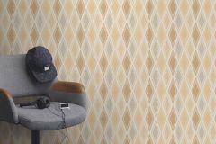 949612 cikkszámú tapéta.Geometriai mintás,különleges felületű,retro,bézs-drapp,fehér,szürke,lemosható,vlies tapéta