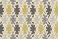 949643 cikkszámú tapéta.Geometriai mintás,különleges felületű,retro,textilmintás,bézs-drapp,sárga,szürke,lemosható,vlies tapéta