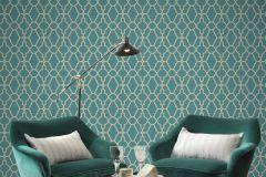 309324 cikkszámú tapéta.Absztrakt,különleges felületű,marokkói ,arany,türkiz,lemosható,papír tapéta