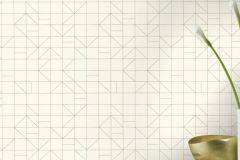 610727 cikkszámú tapéta.Absztrakt,geometriai mintás,különleges felületű,arany,fehér,lemosható,vlies tapéta