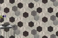 622324 cikkszámú tapéta.3d hatású,geometriai mintás,különleges felületű,fehér,fekete,szürke,lemosható,vlies tapéta