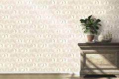 622331 cikkszámú tapéta.3d hatású,geometriai mintás,különleges felületű,ezüst,fehér,szürke,lemosható,vlies tapéta