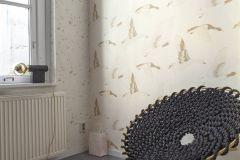 530735 cikkszámú tapéta.állatok,különleges felületű,rajzolt,arany,bézs-drapp,lemosható,vlies tapéta