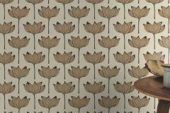 530919 cikkszámú tapéta.Különleges felületű,természeti mintás,virágmintás,arany,bézs-drapp,fekete,lemosható,vlies tapéta