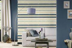531145 cikkszámú tapéta.Absztrakt,különleges felületű,arany,fehér,kék,lemosható,vlies tapéta