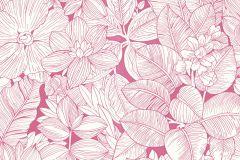 202212 cikkszámú tapéta.Különleges felületű,rajzolt,retro,virágmintás,fehér,pink-rózsaszín,gyengén mosható,papír tapéta