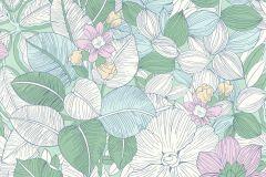 202229 cikkszámú tapéta.Különleges felületű,rajzolt,retro,virágmintás,fehér,kék,szürke,zöld,gyengén mosható,papír tapéta
