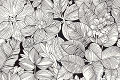 202236 cikkszámú tapéta.Különleges felületű,rajzolt,retro,virágmintás,fehér,fekete,gyengén mosható,papír tapéta