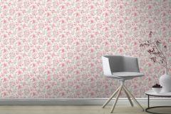 202304 cikkszámú tapéta.Különleges felületű,rajzolt,virágmintás,fehér,pink-rózsaszín,piros-bordó,szürke,gyengén mosható,papír tapéta