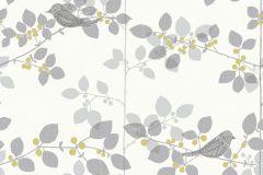 206012 cikkszámú tapéta.állatok,különleges felületű,retro,virágmintás,fehér,szürke,zöld,gyengén mosható,papír tapéta