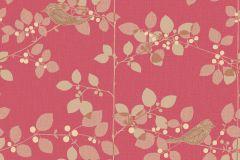 206043 cikkszámú tapéta.állatok,különleges felületű,retro,virágmintás,arany,bézs-drapp,piros-bordó,gyengén mosható,papír tapéta