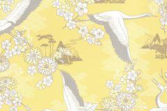 219012 cikkszámú tapéta.állatok,különleges felületű,különleges motívumos,rajzolt,fehér,sárga,szürke,gyengén mosható,papír tapéta
