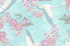 219036 cikkszámú tapéta.állatok,különleges felületű,különleges motívumos,rajzolt,virágmintás,fehér,kék,pink-rózsaszín,szürke,zöld,gyengén mosható,papír tapéta