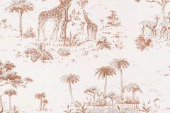 219104 cikkszámú tapéta.állatok,különleges motívumos,rajzolt,természeti mintás,barna,bézs-drapp,gyengén mosható,papír tapéta