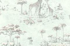 219135 cikkszámú tapéta.állatok,különleges motívumos,rajzolt,természeti mintás,kék,szürke,zöld,gyengén mosható,papír tapéta