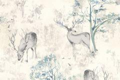 219241 cikkszámú tapéta.állatok,különleges motívumos,rajzolt,természeti mintás,bézs-drapp,kék,vajszínű,gyengén mosható,papír tapéta