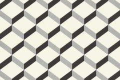 938302 cikkszámú tapéta.3d hatású,geometriai mintás,fehér,fekete,szürke,lemosható,vlies tapéta