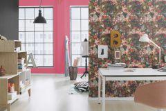 605662 cikkszámú tapéta.Különleges felületű,természeti mintás,virágmintás,kék,lila,narancs-terrakotta,pink-rózsaszín,piros-bordó,szürke,vajszín,zöld,lemosható,vlies tapéta