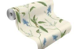 605730 cikkszámú tapéta.Különleges felületű,természeti mintás,virágmintás,kék,vajszín,zöld,lemosható,vlies tapéta