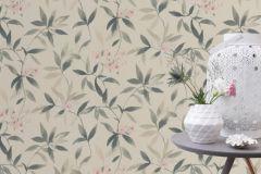 424904 cikkszámú tapéta.Különleges felületű,textilmintás,virágmintás,fehér,pink-rózsaszín,szürke,zöld,lemosható,vlies tapéta
