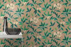 424935 cikkszámú tapéta.Különleges felületű,textilmintás,virágmintás,barna,bézs-drapp,kék,türkiz,zöld,lemosható,vlies tapéta
