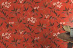 424942 cikkszámú tapéta.Különleges felületű,textilmintás,virágmintás,narancs-terrakotta,pink-rózsaszín,piros-bordó,lemosható,vlies tapéta