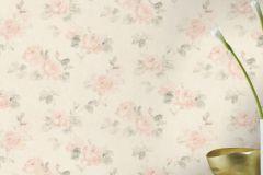 425611 cikkszámú tapéta.Különleges felületű,textilmintás,virágmintás,fehér,pink-rózsaszín,zöld,lemosható,vlies tapéta