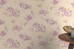 425635 cikkszámú tapéta.Különleges felületű,textilmintás,virágmintás,bézs-drapp,lila,szürke,lemosható,vlies tapéta
