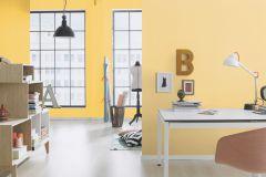 489514 cikkszámú tapéta.Egyszínű,gyerek,különleges felületű,sárga,lemosható,illesztés mentes,vlies tapéta