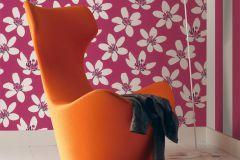 700107 cikkszámú tapéta.Gyerek,különleges felületű,retro,virágmintás,fehér,fekete,pink-rózsaszín,szürke,lemosható,vlies tapéta