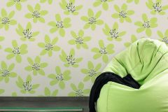 700114 cikkszámú tapéta.Gyerek,különleges felületű,retro,természeti mintás,virágmintás,fehér,fekete,szürke,zöld,lemosható,vlies tapéta