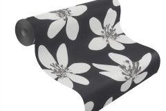 700176 cikkszámú tapéta.Különleges felületű,retro,virágmintás,bézs-drapp,fehér,fekete,szürke,lemosható,vlies tapéta