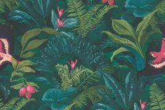 214727 cikkszámú tapéta.állatok,természeti mintás,pink-rózsaszín,türkiz,zöld,gyengén mosható,papír tapéta