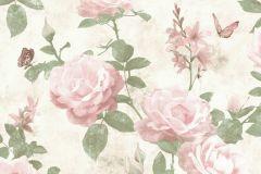 215007 cikkszámú tapéta.állatok,virágmintás,pink-rózsaszín,vajszín,zöld,gyengén mosható,papír tapéta