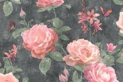 215014 cikkszámú tapéta.állatok,virágmintás,pink-rózsaszín,szürke,zöld,gyengén mosható,papír tapéta