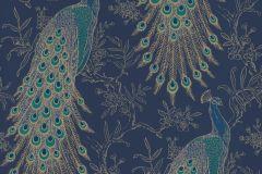 215700 cikkszámú tapéta.állatok,természeti mintás,arany,kék,türkiz,gyengén mosható,papír tapéta