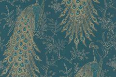 405804 cikkszámú tapéta.állatok,természeti mintás,arany,türkiz,zöld,lemosható,vlies tapéta