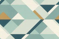 533118 cikkszámú tapéta.Absztrakt,geometriai mintás,arany,fehér,kék,türkiz,lemosható,vlies tapéta