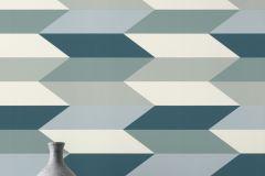 637519 cikkszámú tapéta.Absztrakt,geometriai mintás,fehér,türkiz,zöld,lemosható,vlies tapéta