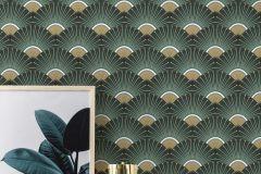 637618 cikkszámú tapéta.Absztrakt,arany,zöld,lemosható,vlies tapéta